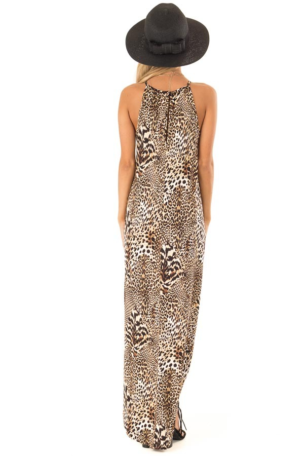 Caramel Leopard Print Halter Maxi Dress with Side Pockets back full body
