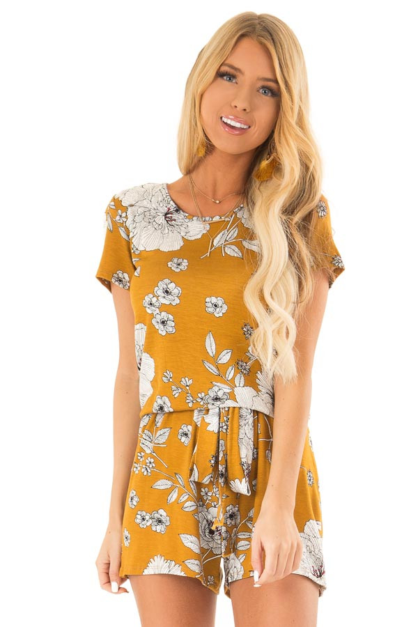 Goldenrod and Ivory Floral Print Romper with Waist Tie front close up
