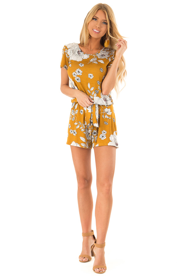 Goldenrod and Ivory Floral Print Romper with Waist Tie front full body