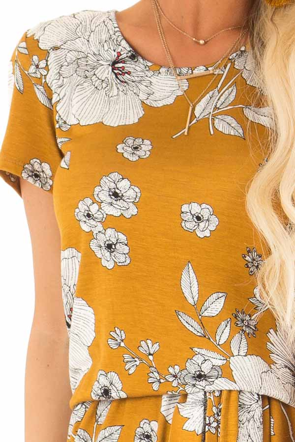Goldenrod and Ivory Floral Print Romper with Waist Tie detail