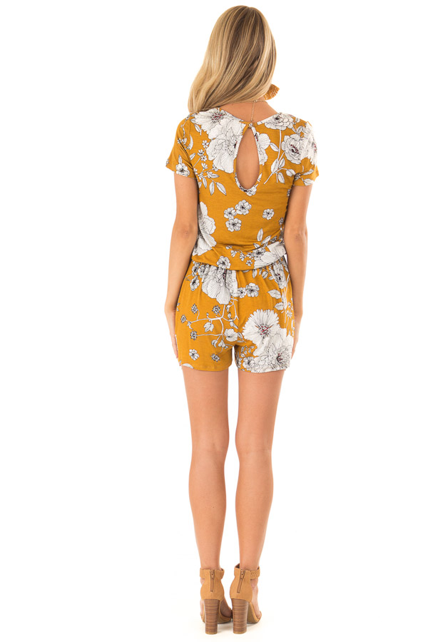 Goldenrod and Ivory Floral Print Romper with Waist Tie back full body