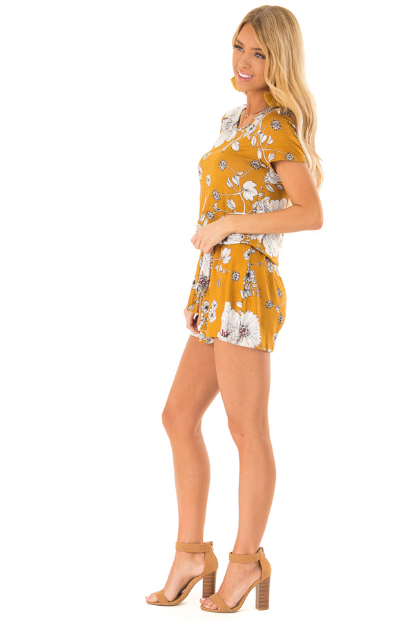 Goldenrod and Ivory Floral Print Romper with Waist Tie side full body