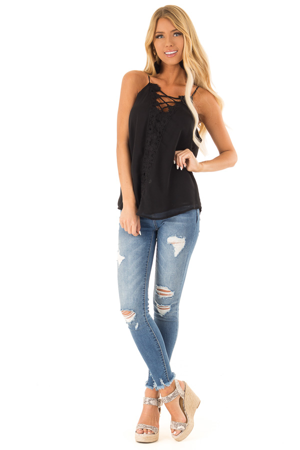 Ink Black Plunging V Neck Top with Scalloped Lace Detail front full body