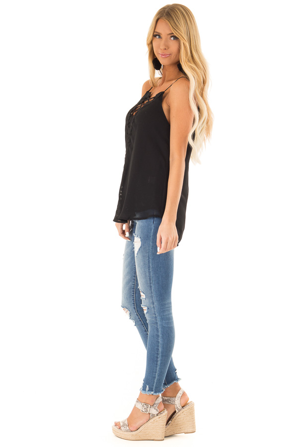 Ink Black Plunging V Neck Top with Scalloped Lace Detail side full body