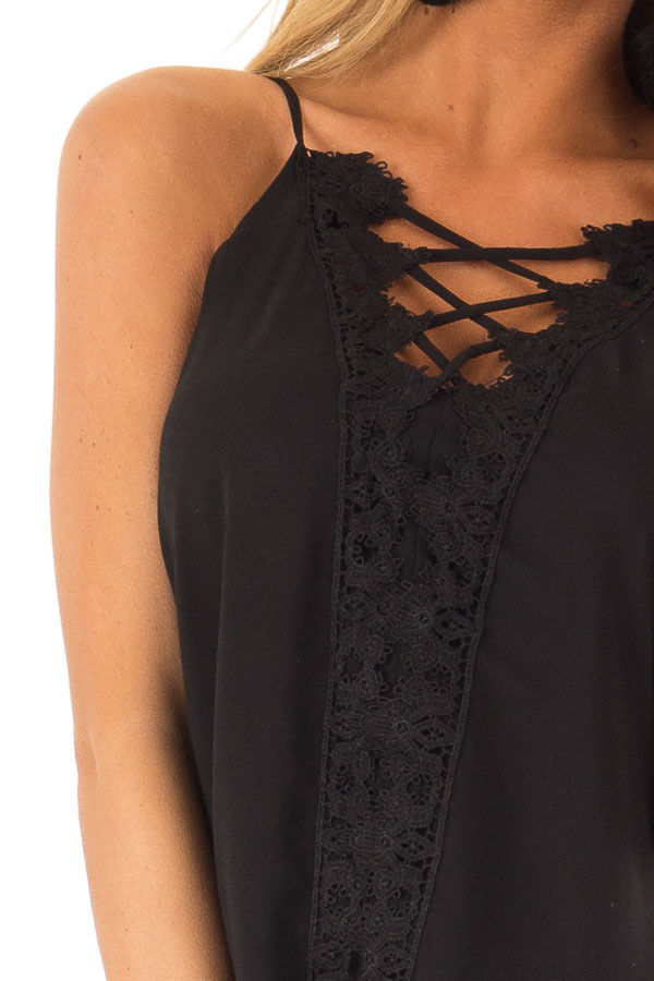 Ink Black Plunging V Neck Top with Scalloped Lace Detail detail