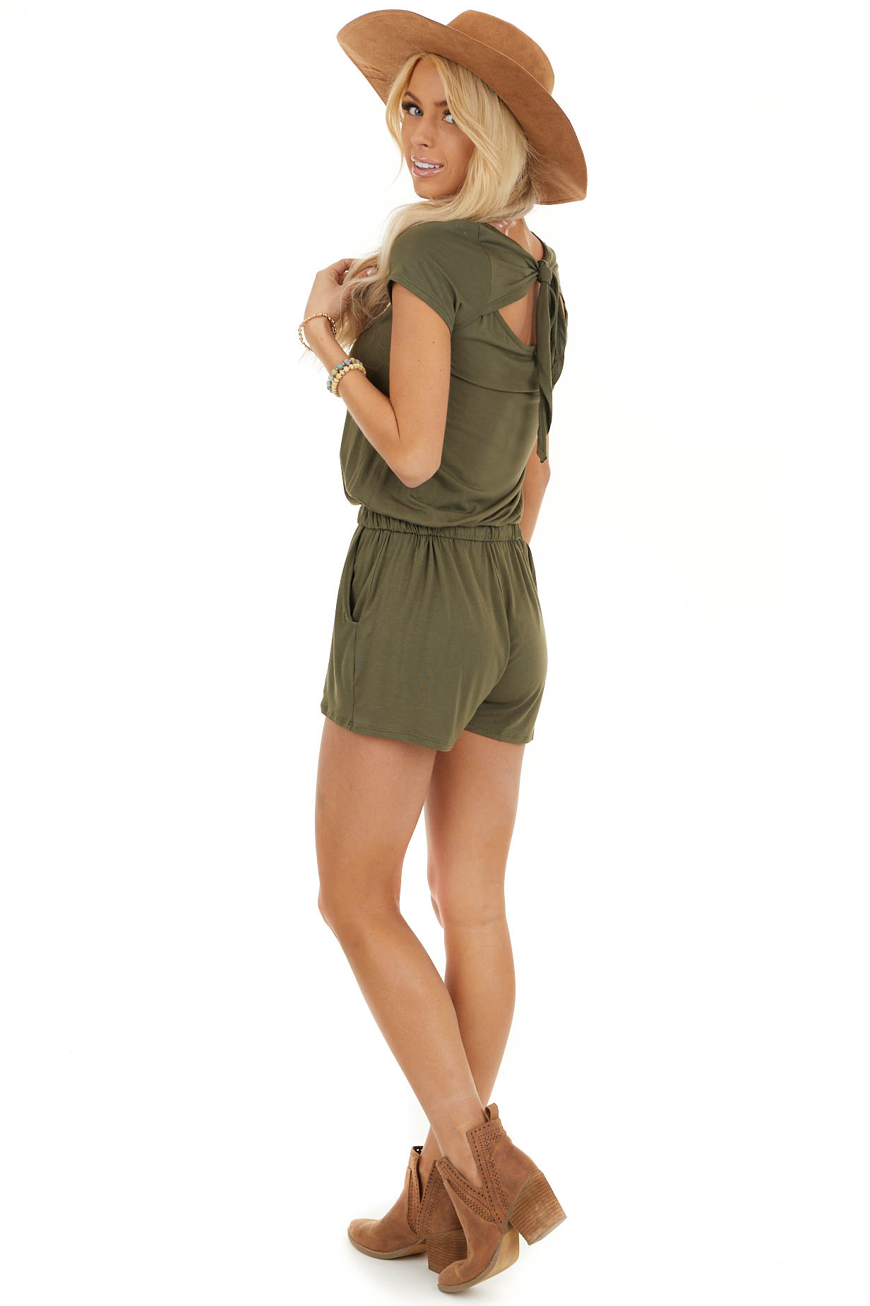 Olive Short Sleeve Romper with Back Tie Detail and Waist Tie side full body