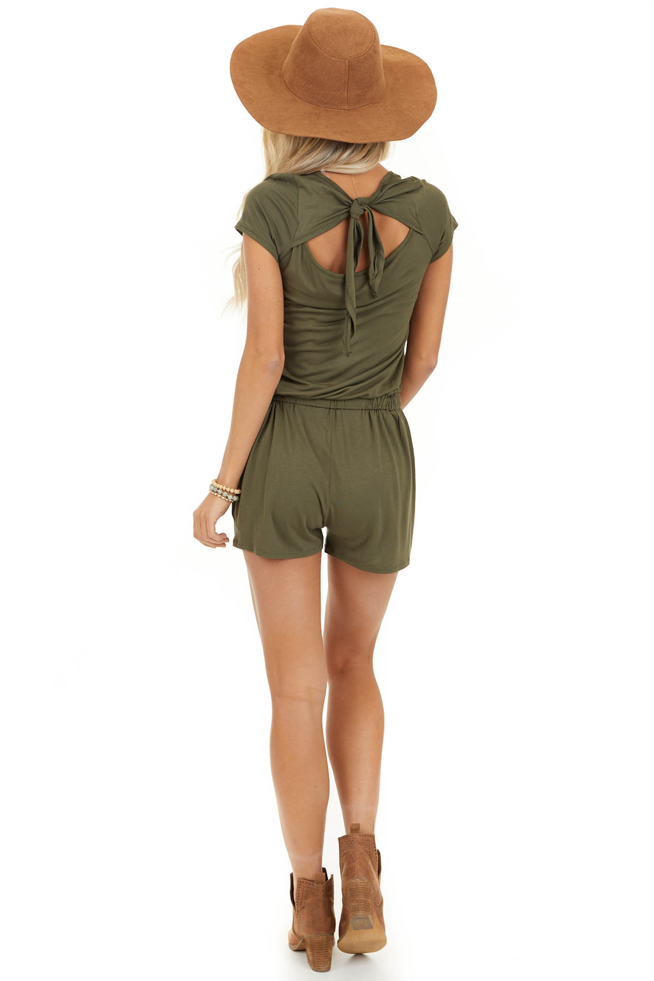 Olive Short Sleeve Romper with Back Tie Detail and Waist Tie back full body
