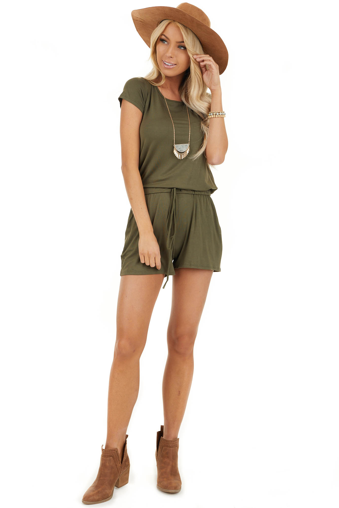 Olive Short Sleeve Romper with Back Tie Detail and Waist Tie front full body