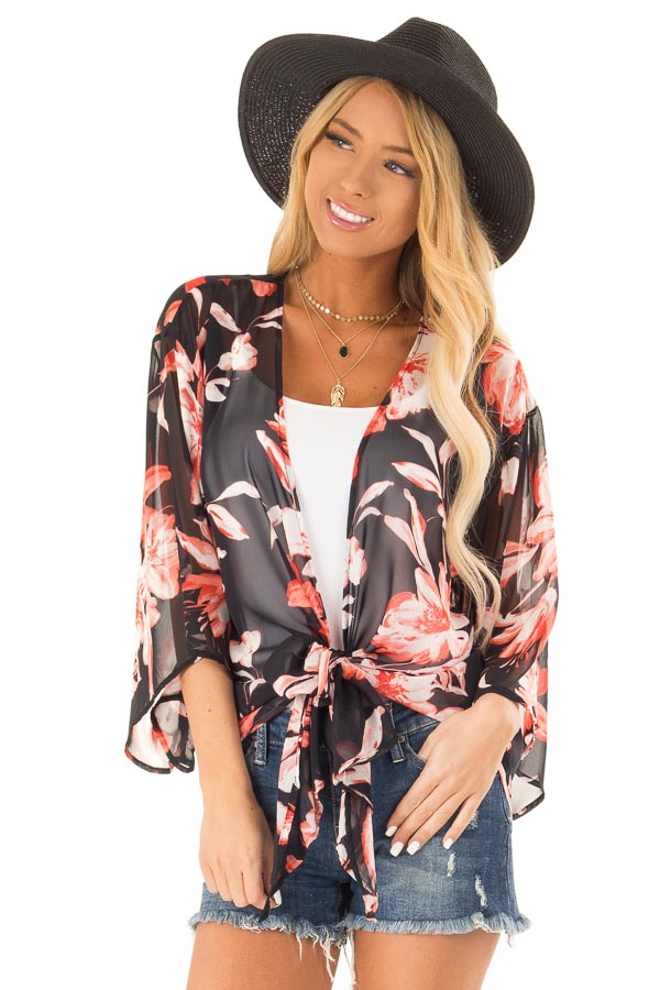Black Floral Print Sheer Kimono with Front Tie Closure front close up