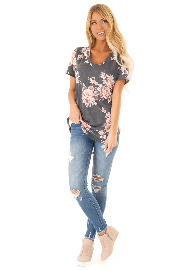 Charcoal Grey V Neck Top with Floral Print front full body