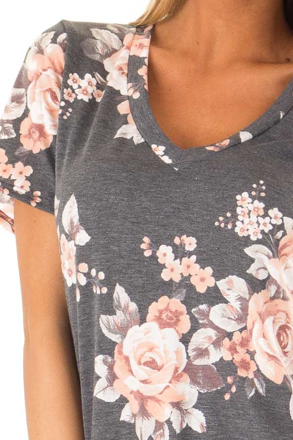 Charcoal Grey V Neck Top with Floral Print detail