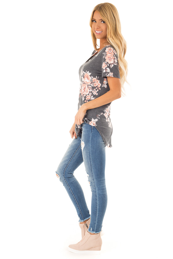 Charcoal Grey V Neck Top with Floral Print side full body
