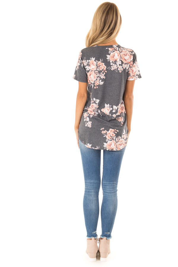 Charcoal Grey V Neck Top with Floral Print back full body