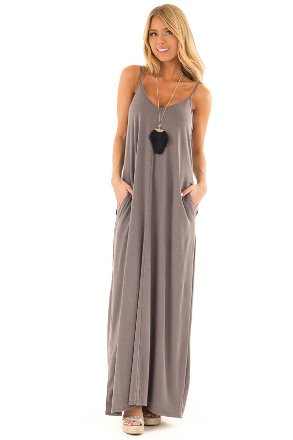 Charcoal Sleeveless V Neck Maxi Dress with Side Pockets front full body