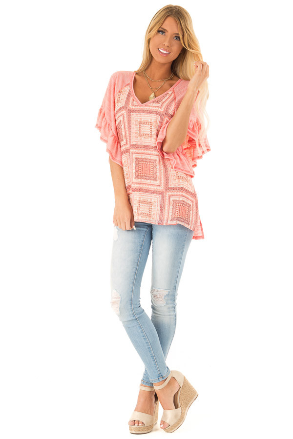 Bubblegum Pink Multi Print Top with Ruffle Sleeves front full body