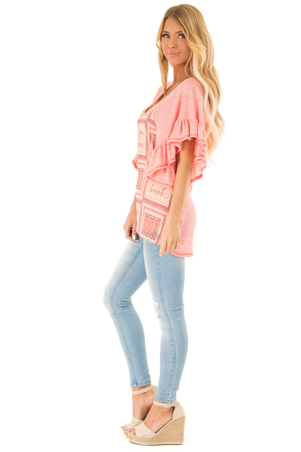 Bubblegum Pink Multi Print Top with Ruffle Sleeves side full body