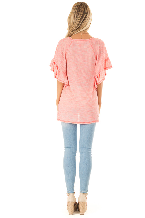 Bubblegum Pink Multi Print Top with Ruffle Sleeves back full body