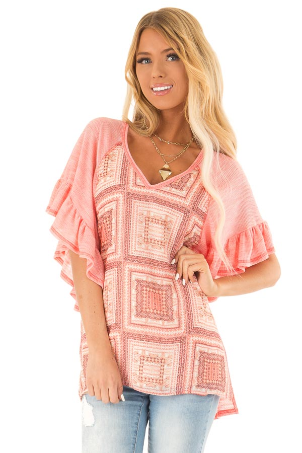 Bubblegum Pink Multi Print Top with Ruffle Sleeves front close up