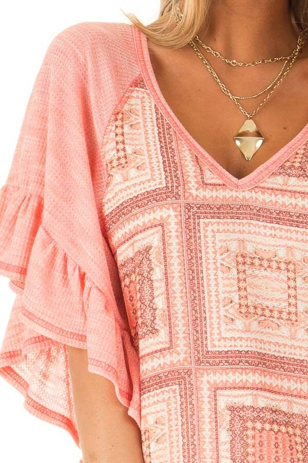 Bubblegum Pink Multi Print Top with Ruffle Sleeves detail