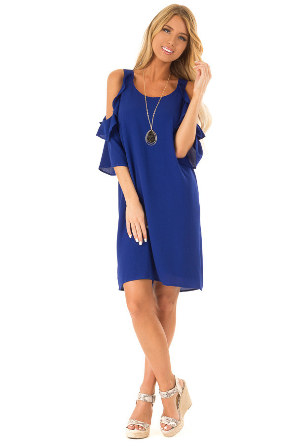 Cobalt Blue Cold Shoulder Dress with Ruffle Detail front full body