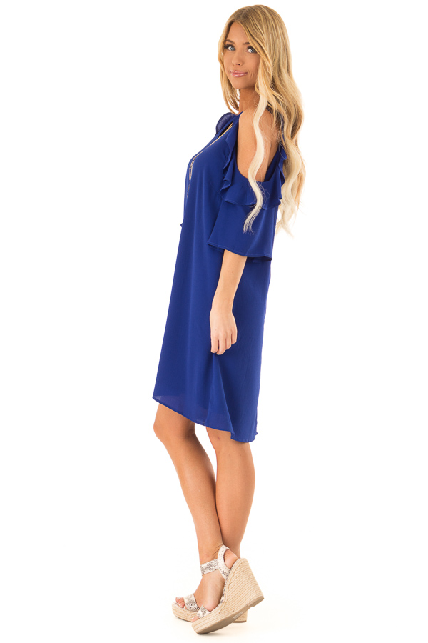 Cobalt Blue Cold Shoulder Dress with Ruffle Detail side full body