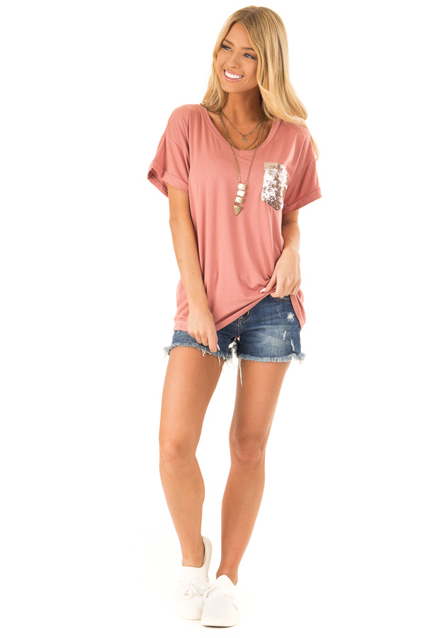Light Brick Short Sleeve Top with Sequin Pocket Detail front full body
