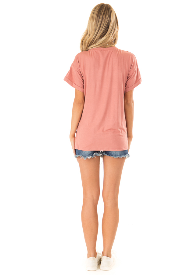 Light Brick Short Sleeve Top with Sequin Pocket Detail back full body