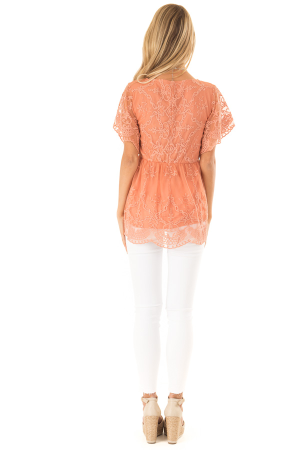Salmon Babydoll Short Sleeve Top with Lace Overlay back full body
