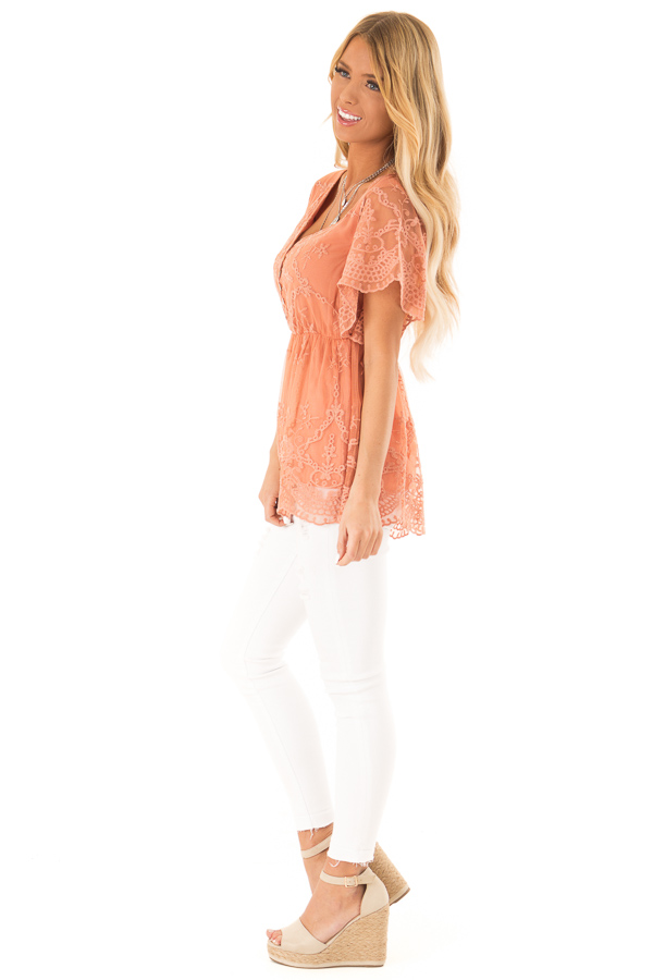 Salmon Babydoll Short Sleeve Top with Lace Overlay side full body