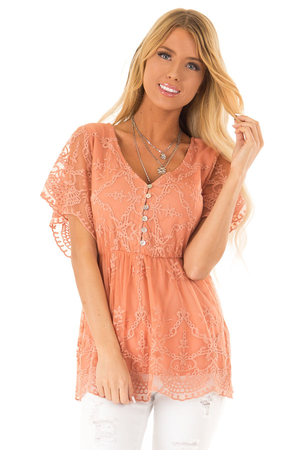 Salmon Babydoll Short Sleeve Top with Lace Overlay front close up