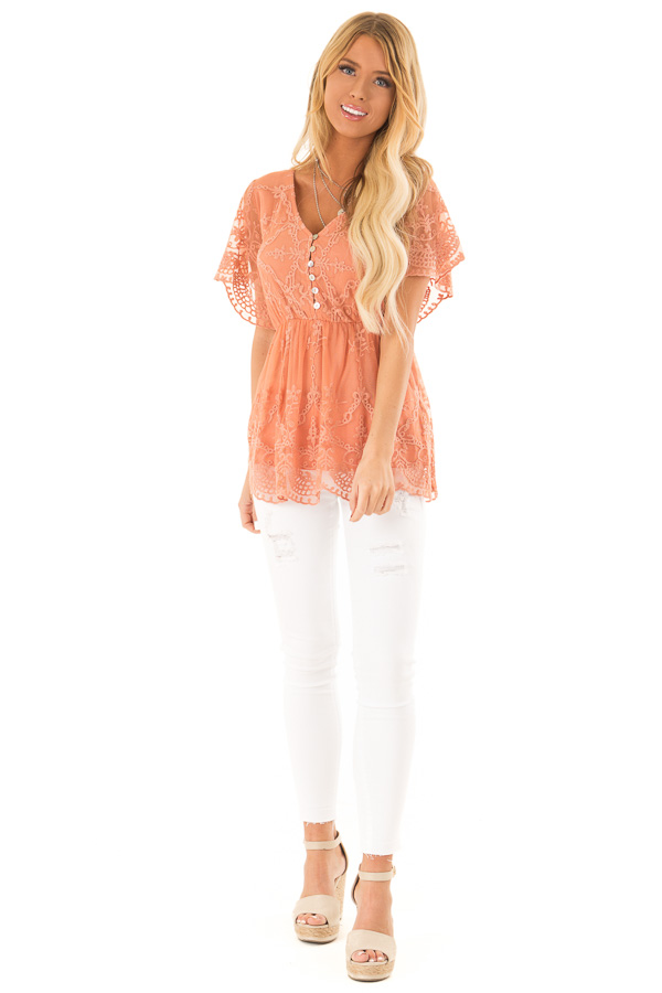 Salmon Babydoll Short Sleeve Top with Lace Overlay front full body