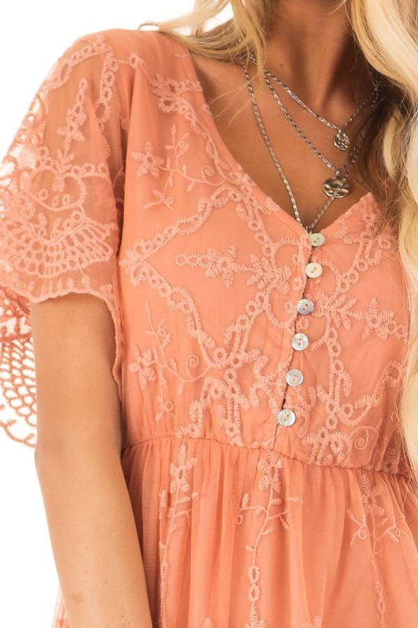 Salmon Babydoll Short Sleeve Top with Lace Overlay detail