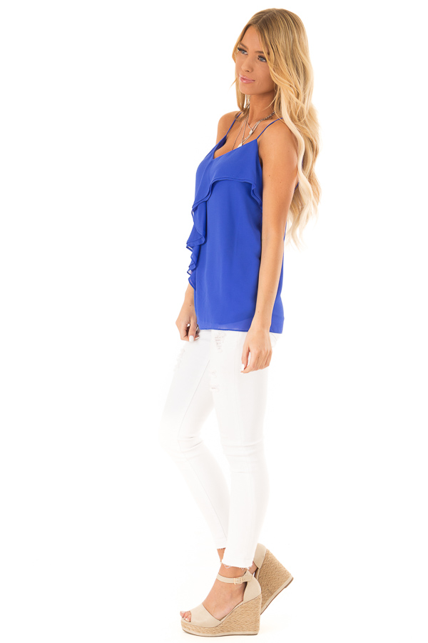 Cobalt Blue V Neck Tank Top with Ruffle Details side full body