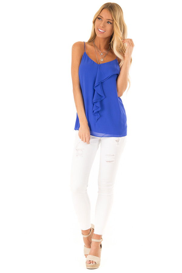 Cobalt Blue V Neck Tank Top with Ruffle Details front full body