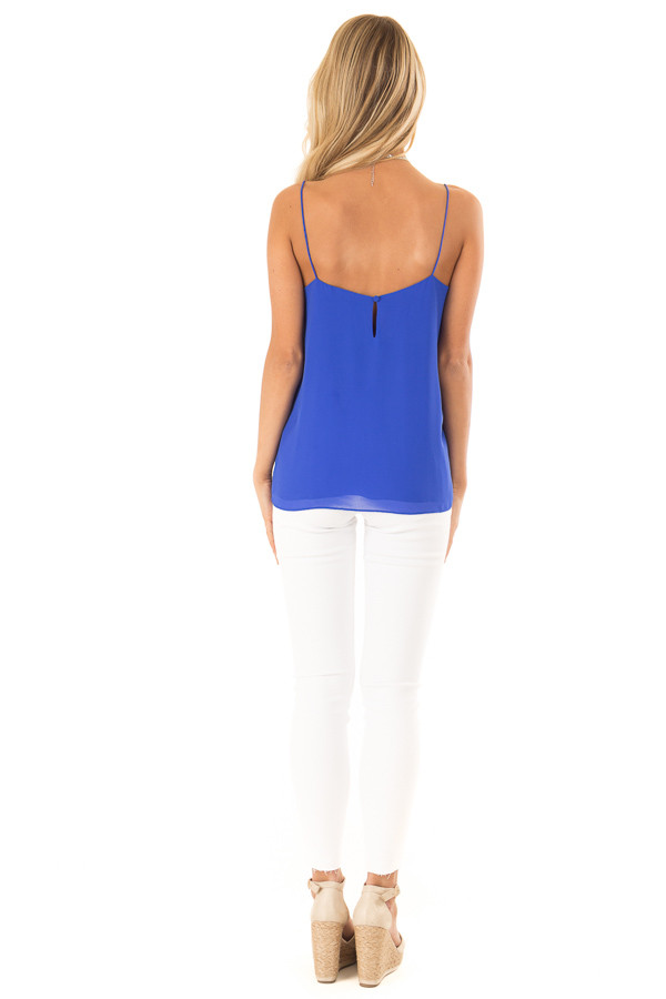 Cobalt Blue V Neck Tank Top with Ruffle Details back full body