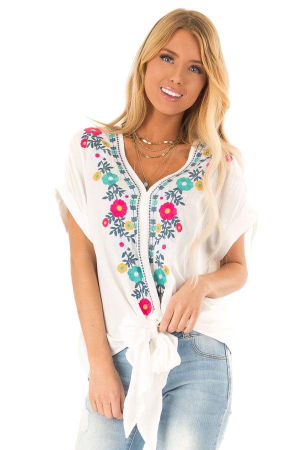 Ivory Embroidered Short Sleeve Top with Front Tie front close up