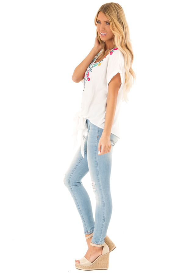 Ivory Embroidered Short Sleeve Top with Front Tie side full body