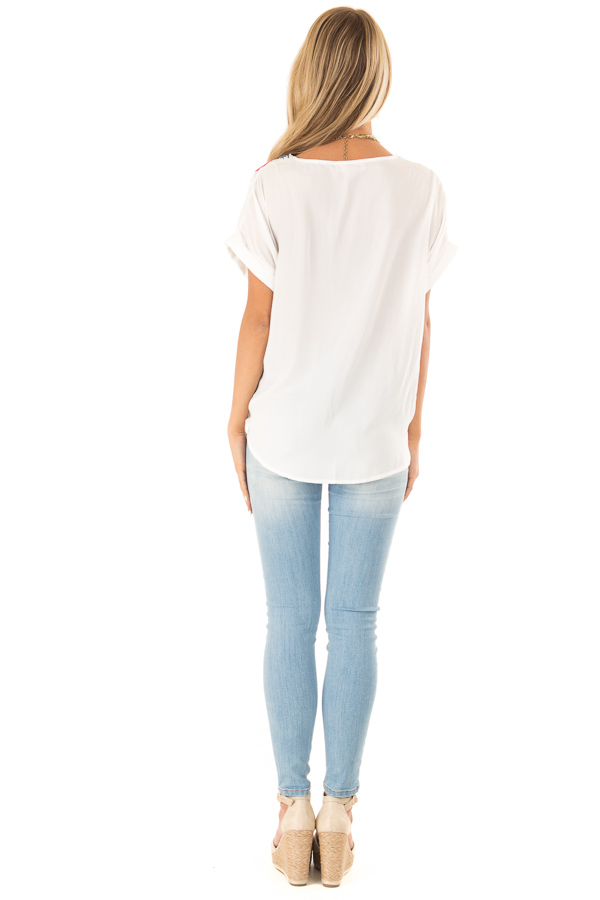 Ivory Embroidered Short Sleeve Top with Front Tie back full body