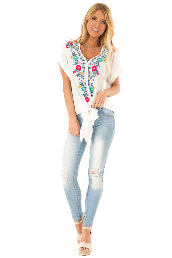 Ivory Embroidered Short Sleeve Top with Front Tie front full body