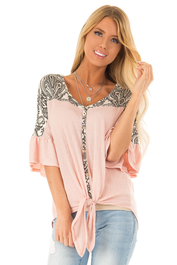Blush Paisley Top with 3/4 Ruffled Sleeves and Front Tie front close up