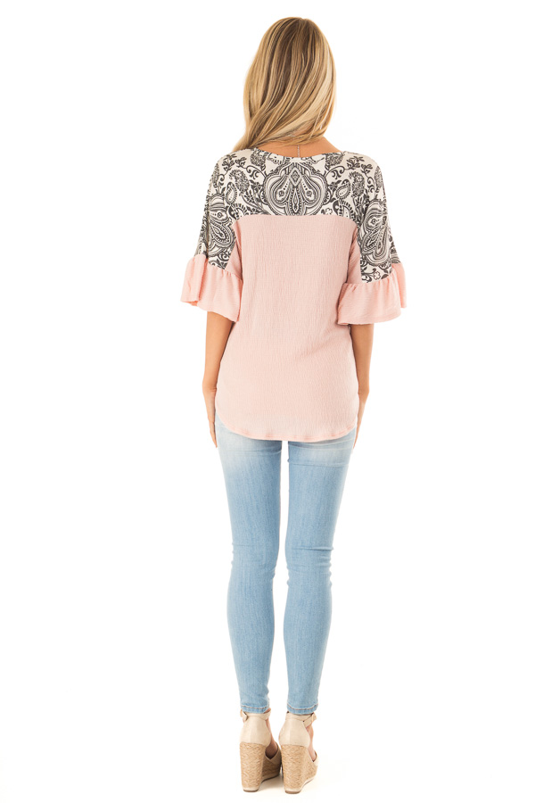 Blush Paisley Top with 3/4 Ruffled Sleeves and Front Tie back full body