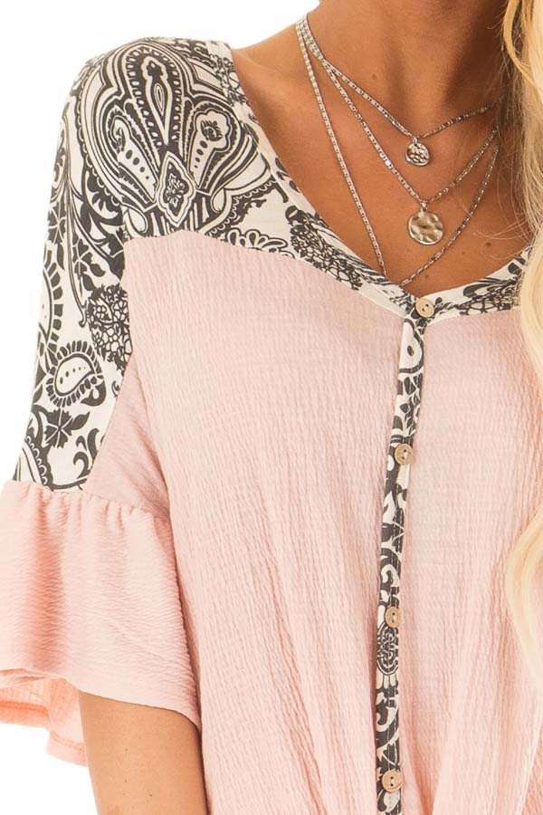 Blush Paisley Top with 3/4 Ruffled Sleeves and Front Tie detail