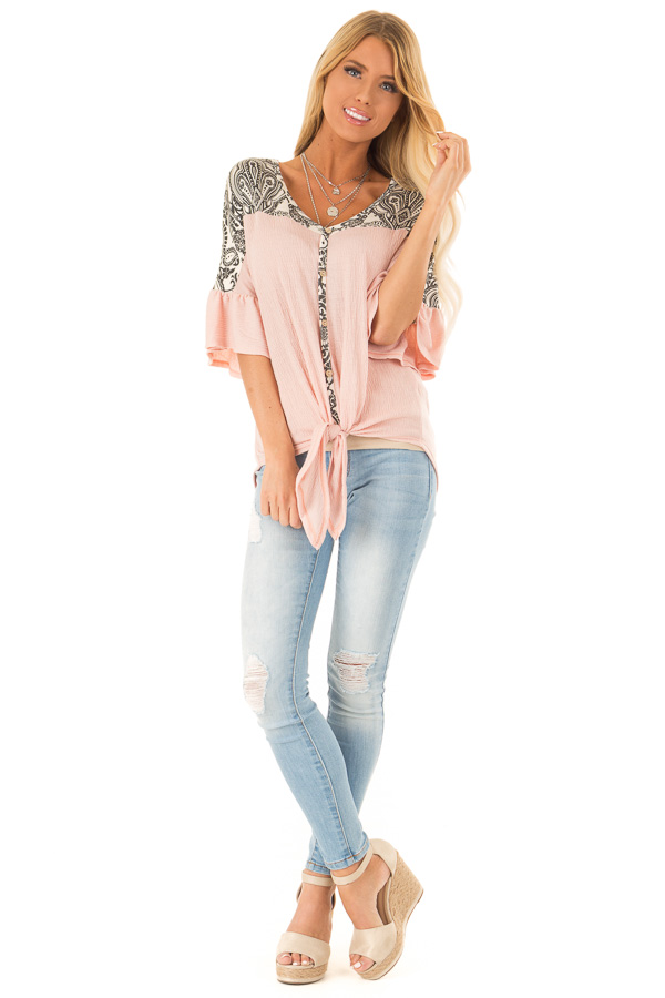 Blush Paisley Top with 3/4 Ruffled Sleeves and Front Tie front full body