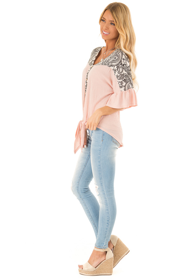 Blush Paisley Top with 3/4 Ruffled Sleeves and Front Tie side full body