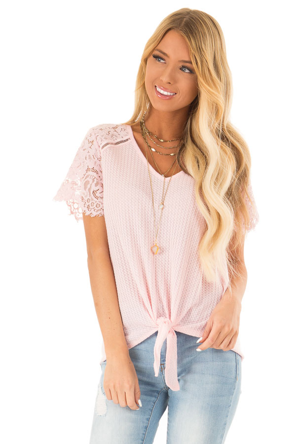 Baby Pink Waffle Knit Top with Short Lace Sleeves front close up