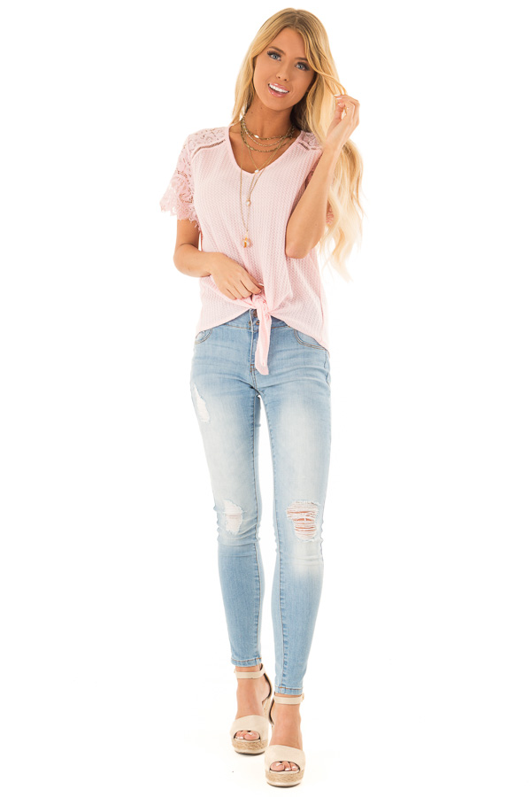 Baby Pink Waffle Knit Top with Short Lace Sleeves front full body