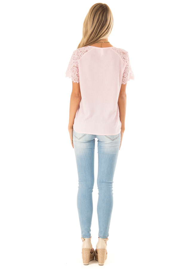 Baby Pink Waffle Knit Top with Short Lace Sleeves back full body
