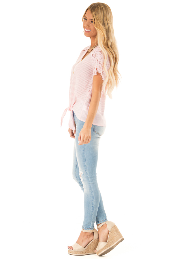 Baby Pink Waffle Knit Top with Short Lace Sleeves side full body