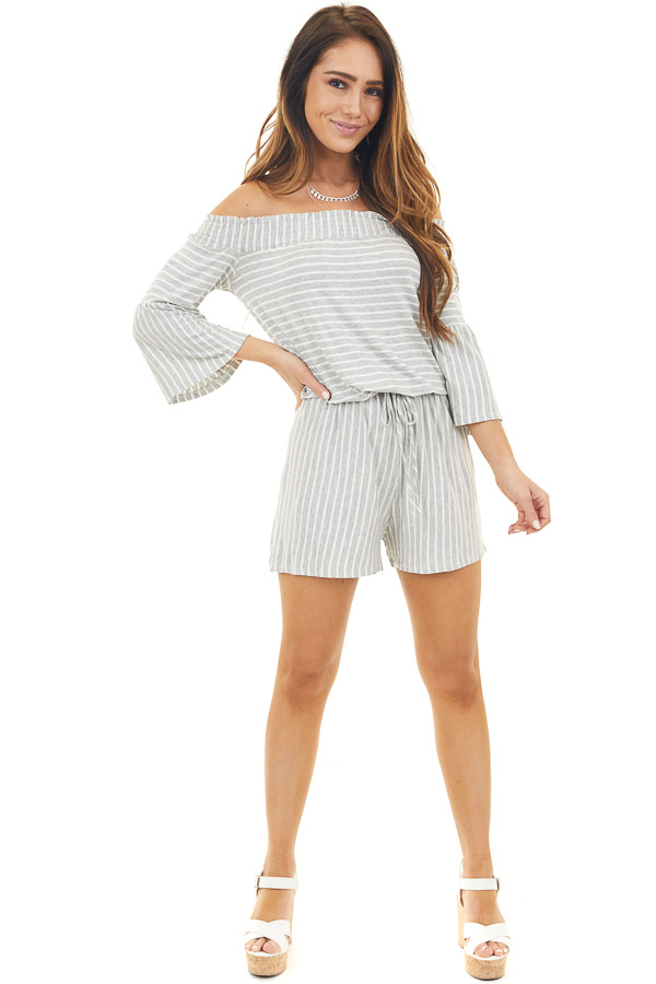 Heather Grey and Ivory Striped Off Shoulder Romper