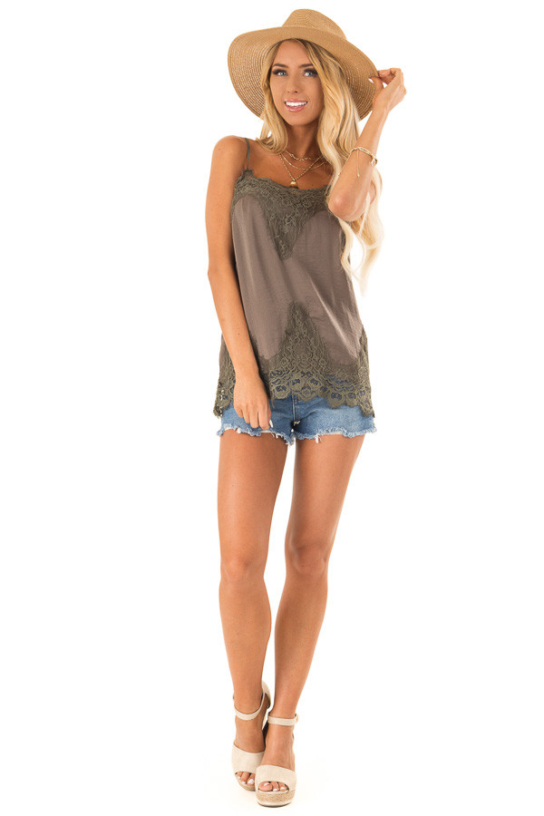 Olive Spaghetti Strap Camisole Tank Top with Lace Trim front full body